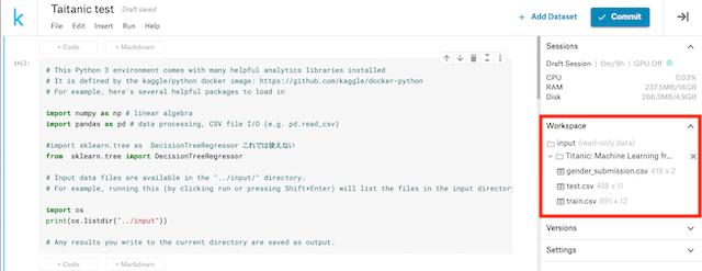 Kaggleの作業画面。右の赤枠の部分が実際に使えるデータ(CSVファイル)